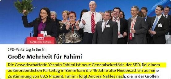 یاسمین فهیمی نخستین زن ایرانی تبارمقیم آلمان رئیس حزب سوسیال دموکرات آلمان شد