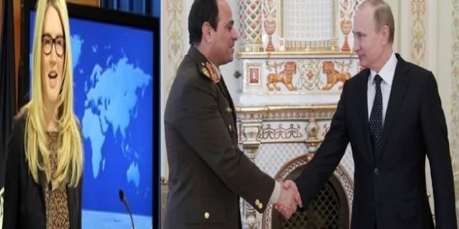 پوتین دراستقبال ازالسیسی:ریاست جمهوری مصر رااز قبل تبریک گفت!امریکا : انتخاب رئیس جمهور مصرجزو اختیارات پوتین نیست !