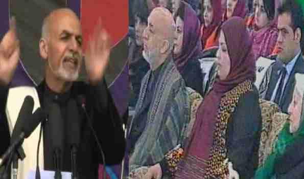 رئیس غنی در محفل ۸ مارچ : قانون اساسی افغانستان کاملأ اسلامی است و ما دست آورد های سیزده ساله رهبر خردمند افغانستان جلالتمآب کرزی را حفظ و ادامه خواهیم داد