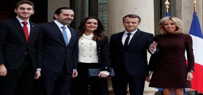 سعد حریری در فرانسه با ماکرون