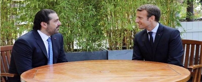 سعد حریری و ماکرون رئیس جمهور فرانسه